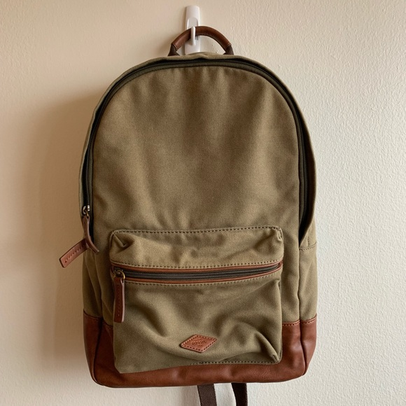 c1f9a170238 Fossil Estate Canvas and Leather Zip Backpack